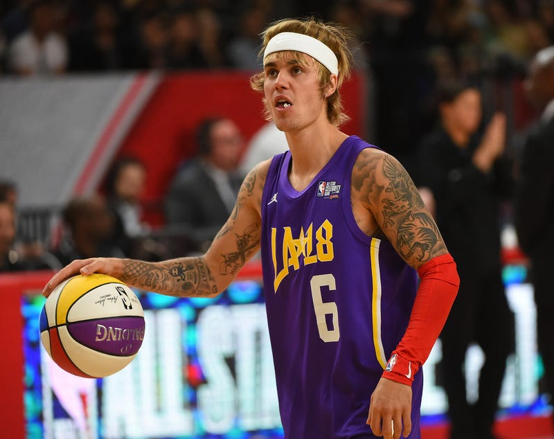 Justin Bieber plays during the 2018 NBA All-Star Game Celebrity Game