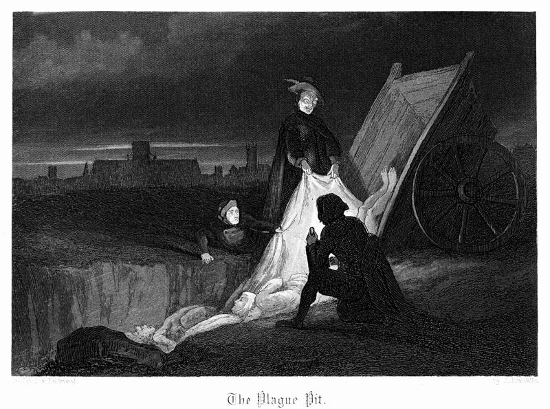 Illustration of mass burials in London during the Black Death