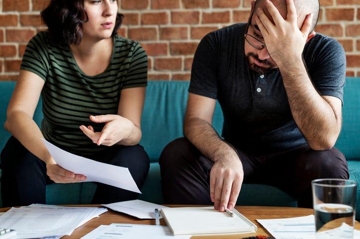 Couple struggling financially.