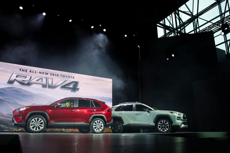 oyota unveils the 2019 Toyota RAV4 at the New York International Auto Show, March 28, 2018 at the Jacob K. Javits Convention Center in New York City.