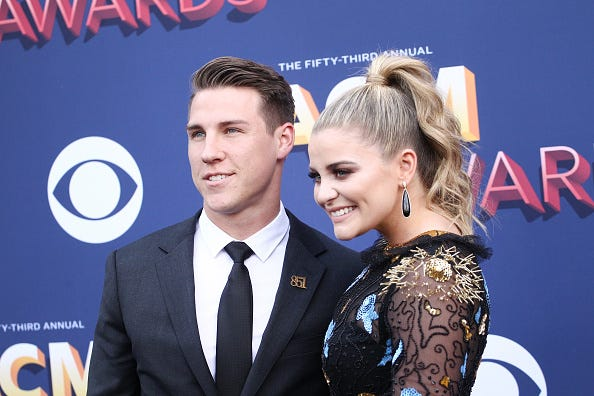 Alex Hopkins and Lauren Alaina attend the 53rd Academy of Country Music Awards