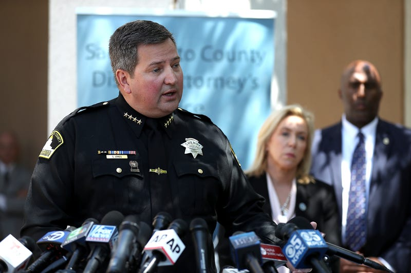 Sacramento sheriff Scott Jones speaks about the arrest of accused rapist and killer Joseph James DeAngelo during a news conference on April 25, 2018 in Sacramento, California.