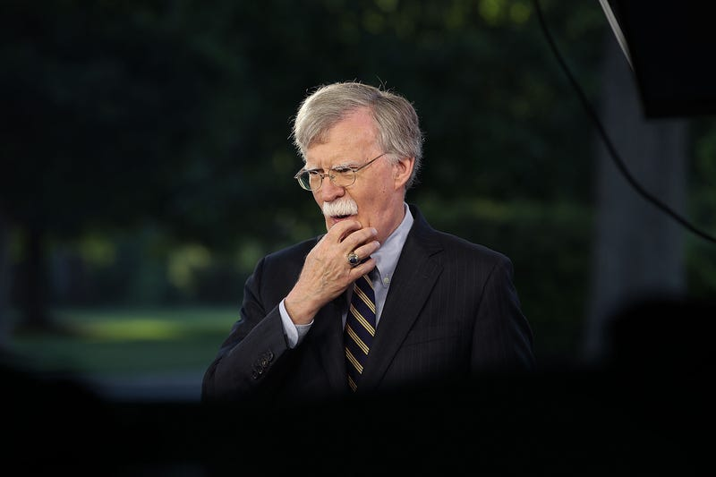 National Security Adviser John Bolton speaks on a morning television show from the grounds of the White House, on May 9, 2018 in Washington, DC.