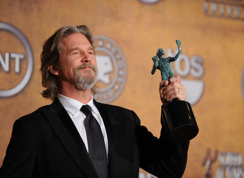 Actor Jeff Bridges poses with the Male Actor In A Leading Role award for 'Crazy Heart' in the press room at the 16th Annual Screen Actors Guild Awards held at the Shrine Auditorium on January 23, 2010 in Los Angeles, California.
