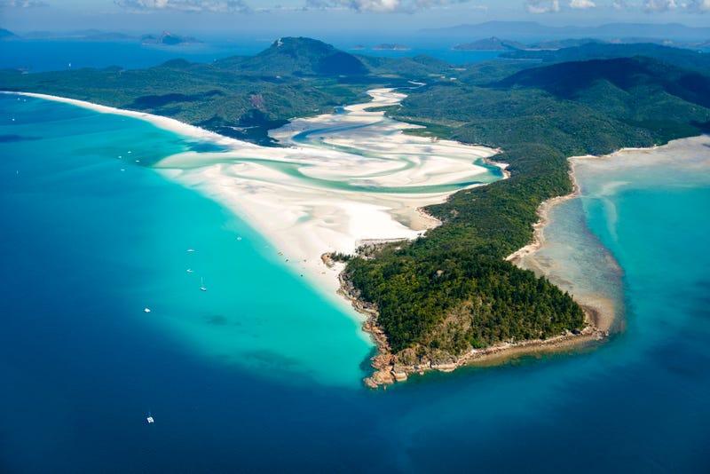 aerial shot of whitehaven beach in australia