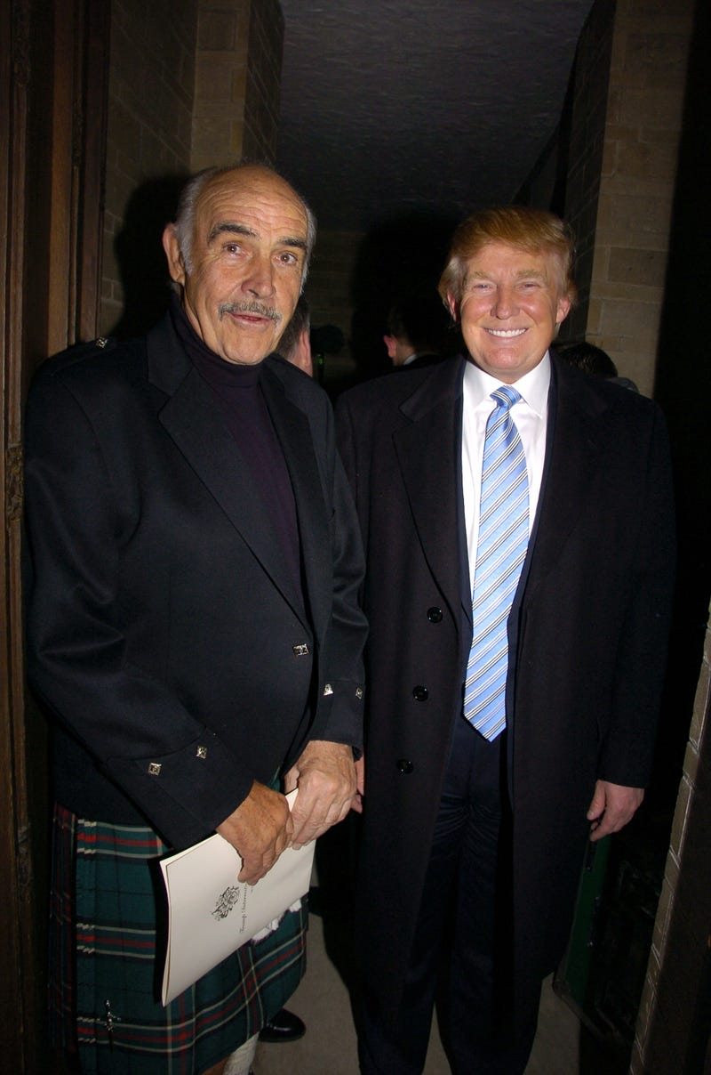 Sean Connery (left) and Donald Trump are at the Synod House at St. John the Divine Cathedral Garden for the Johnnie Walker Dressed to Kilt fashion show and charity event.