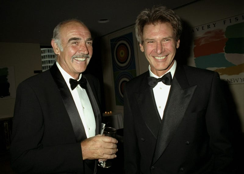 Sean Connery and Harrison Ford get together for the Film Society of Lincoln Center Tribute to Connery at Avery Fisher Hall on May 5, 1997.