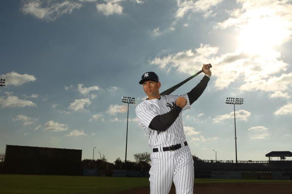 Alex Rodriguez #13 of the New York Yankees poses for a photo during Spring Training Media Photo Day at George M. Steinbrenner Field on February 25, 2010 in Tampa, Florida.
