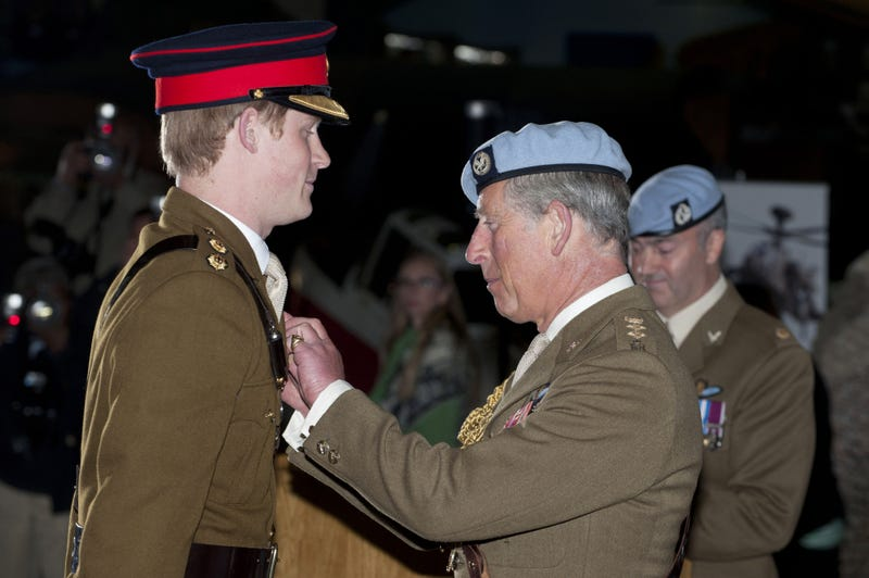 prince harry presented with flying wings by prince charles