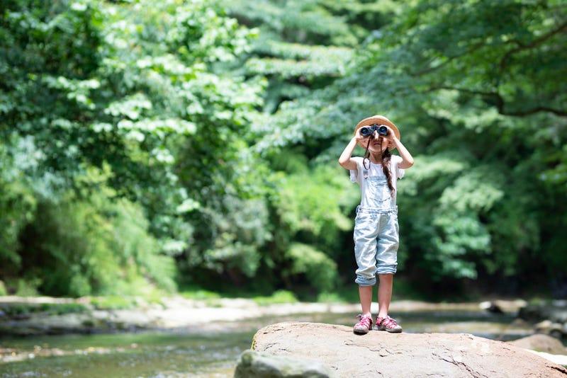 Girl birdwatching