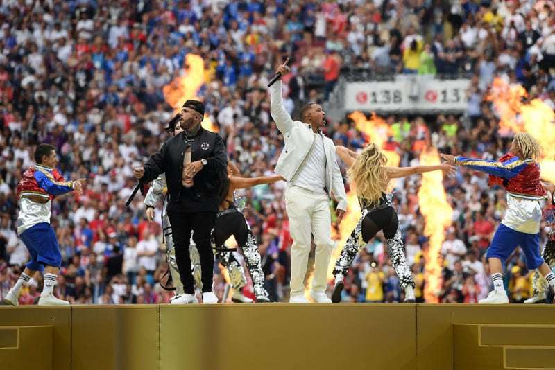 Nicky Jam and Will Smith perform during the closing ceremony prior to the 2018 FIFA World Cup Final between France and Croatia in 2018