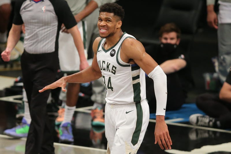 Jun 15, 2021; Brooklyn, New York, USA; Milwaukee Bucks power forward Giannis Antetokounmpo (34) reacts during the fourth quarter of game five of the second round of the 2021 NBA Playoffs against the Brooklyn Nets at Barclays Center. Mandatory Credit: Brad Penner-USA TODAY Sports