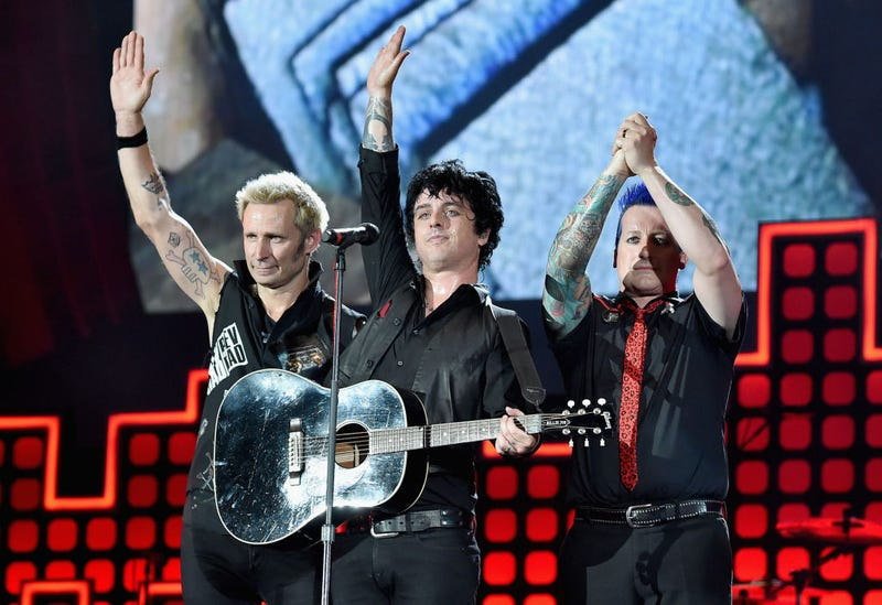 Mike Dirnt, Billie Joe Armstrong and Tre Cool of Green Day perform onstage during the 2017 Global Citizen Festival: For Freedom. For Justice. For All. in Central Park on September 23, 2017 in New York City