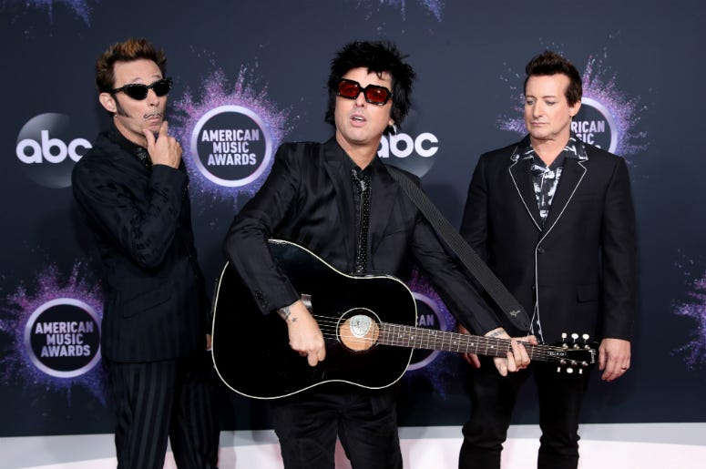 Mike Dirnt, Billie Joe Armstrong, and Tré Cool of Green Day attend the 2019 American Music Awards