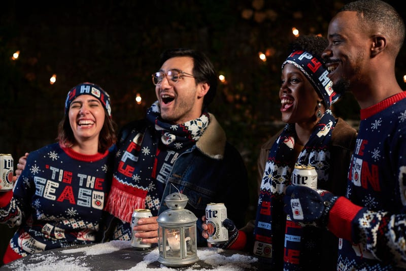"Miller Lite's ugly sweater knitwear line is returning with a brand new design and a few new items, including brand new inclusive packaging and cans, so you can still celebrate ""in style."""