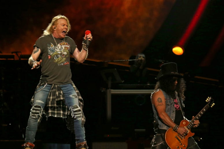 Axl Rose and Slash of Guns N' Roses perform in concert at Madison Square Garden