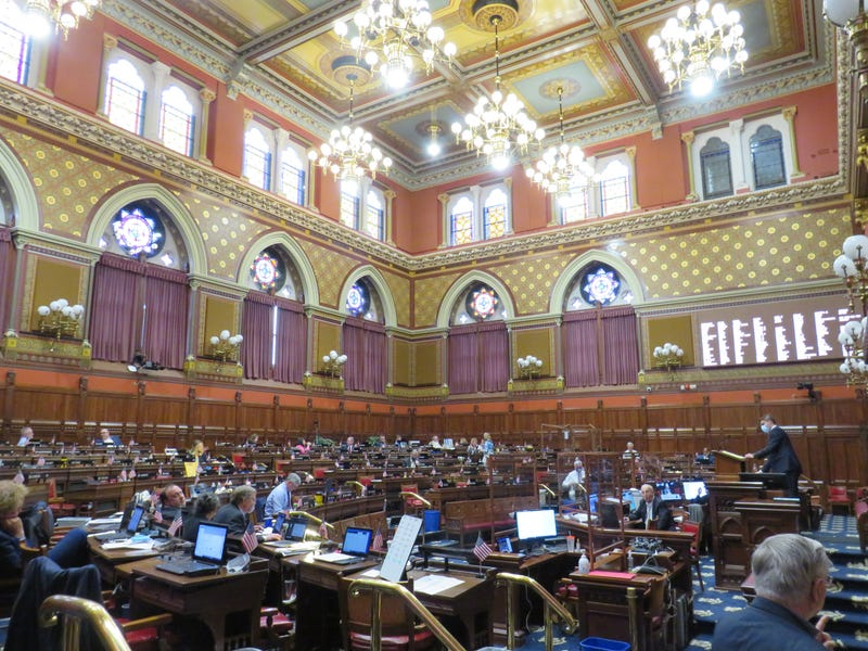 The Connecticut House chamber, on the final evening of the current legislative session, 6/9/21.