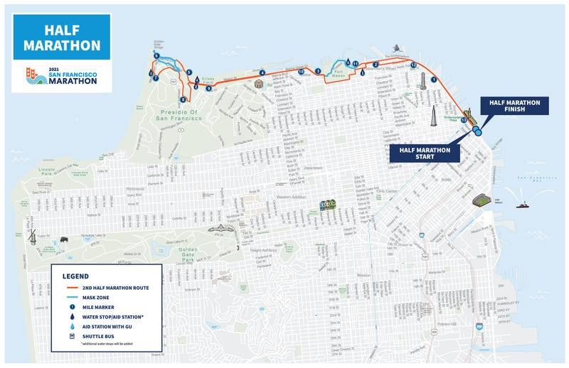 Masks will be required on the blue-highlighted portions of the half marathon on Sunday.