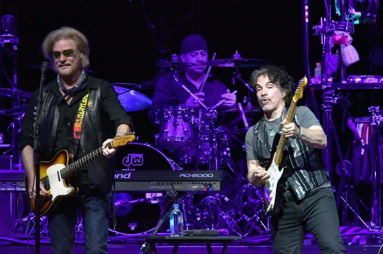 Daryl Hall and John Oates of Hall & Oates perform in concert at American Airlines Arena