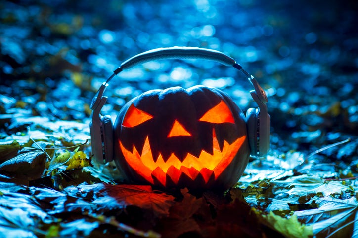 pumpkin with headphones on