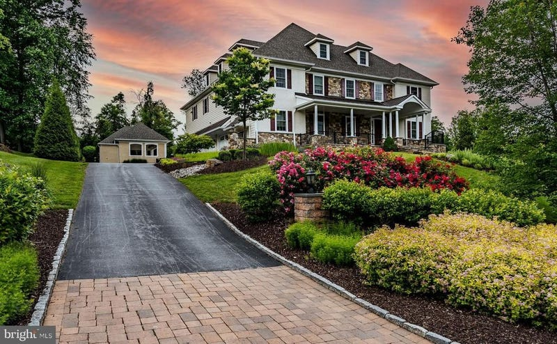 The view of Hamels' home from the bottom of the driveway.