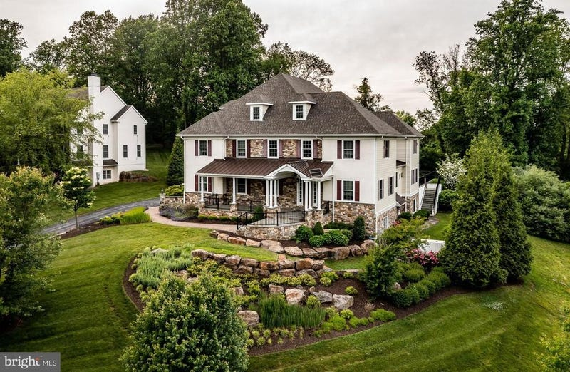 An exterior view of Hamels' Newtown Square home.