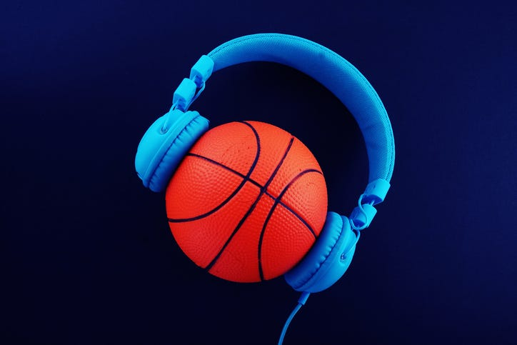 headphones on a basketball