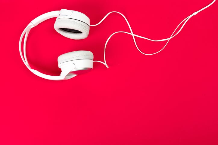Headphones red background
