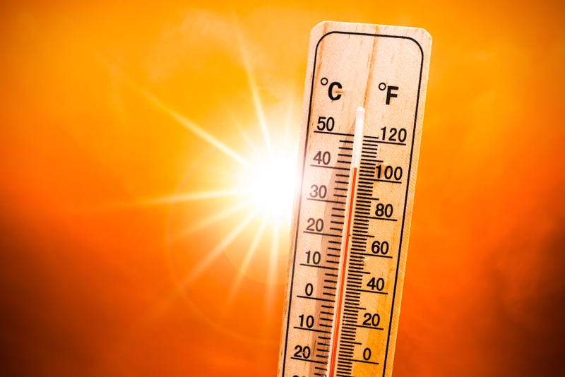 A Thermometer with the sun in the background showcases excessive heat