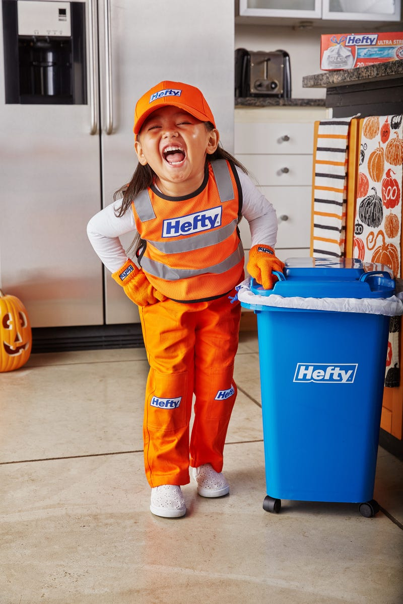 "This Halloween, Hefty is honoring sanitation workers for their frontline service by creating the ""Hefty Garbage Collector"" Halloween costume for kids."