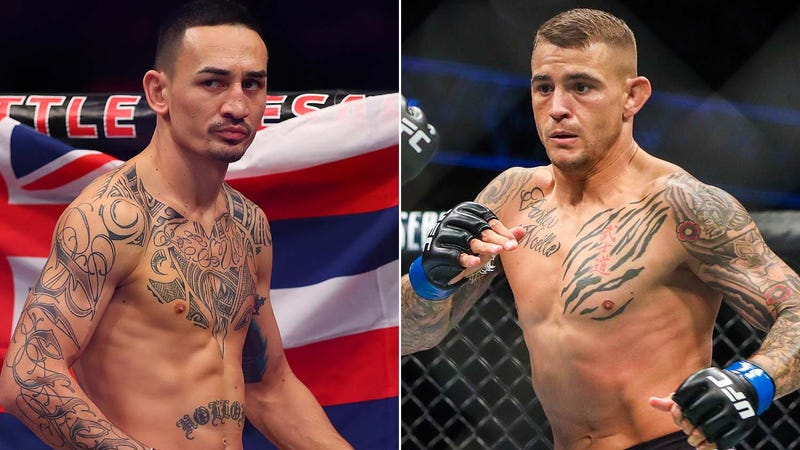 UFC interim lightweight title contenders Max Holloway and Dustin Poirier inside the Octagon.