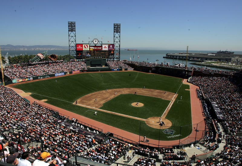 A view from the stands of the field at Oracle Park in San Francisco