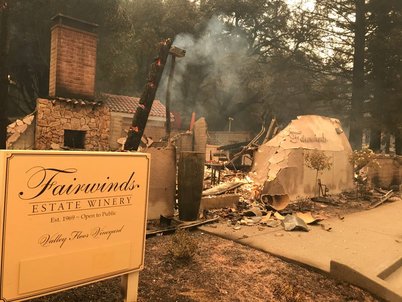 Flames consumed at least this building at Fairwinds Estate Winery in Calistoga.