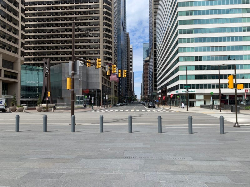 Quiet streets in Philadelphia after the Mayor's Office issued a stay-at-home order in March 2020.