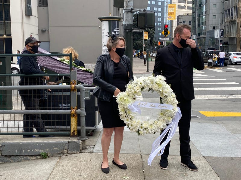 A funeral procession was held on October 9 in San Francisco for the live event industry, which has been put on pause due to COVID-19