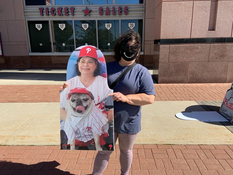 Heidi Gold of Philadelphia bought a cutout of herself and her dog, Pugsly.