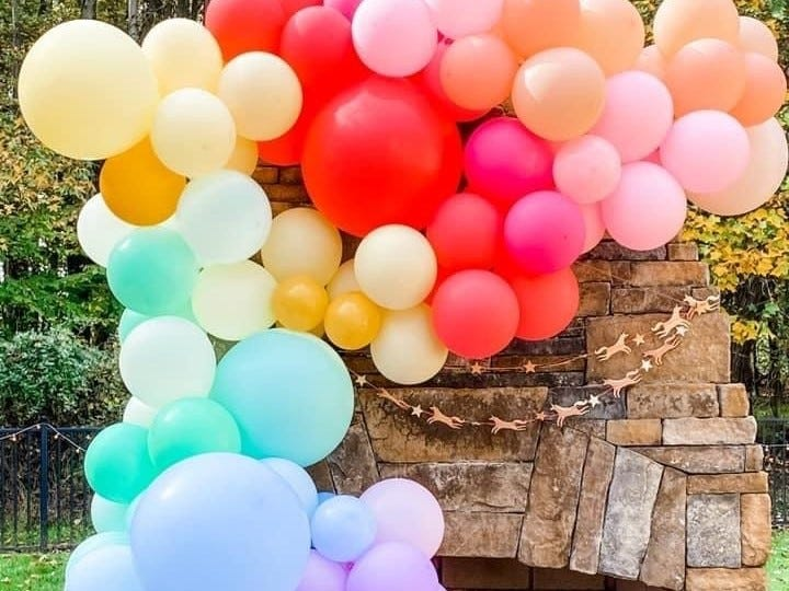 Balloons at an outdoor party.
