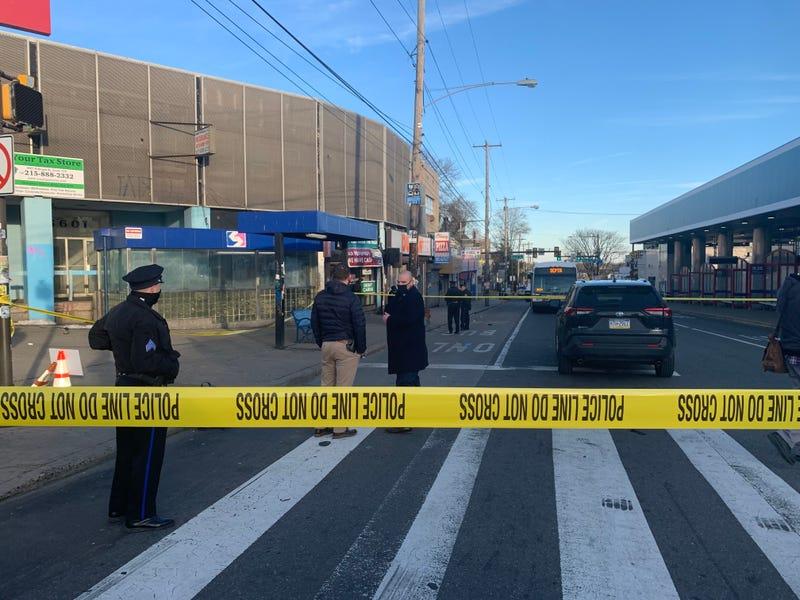 Police on the scene of the shooting near Olney Transportation Center on Feb. 17.