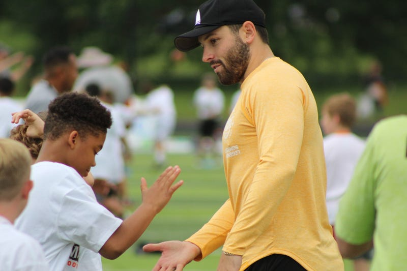 Browns quarterback Baker Mayfield at his football camp in Gates Mills, Ohio