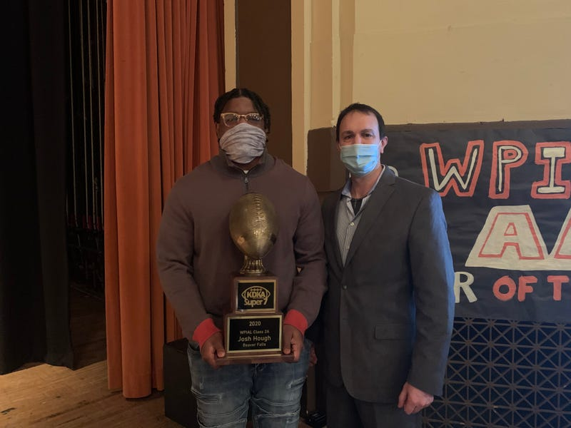 Kevin Battle of the KDKA Radio Morning Show presented Hough with his KDKA Radio Super 7 2A Player of the Year award.