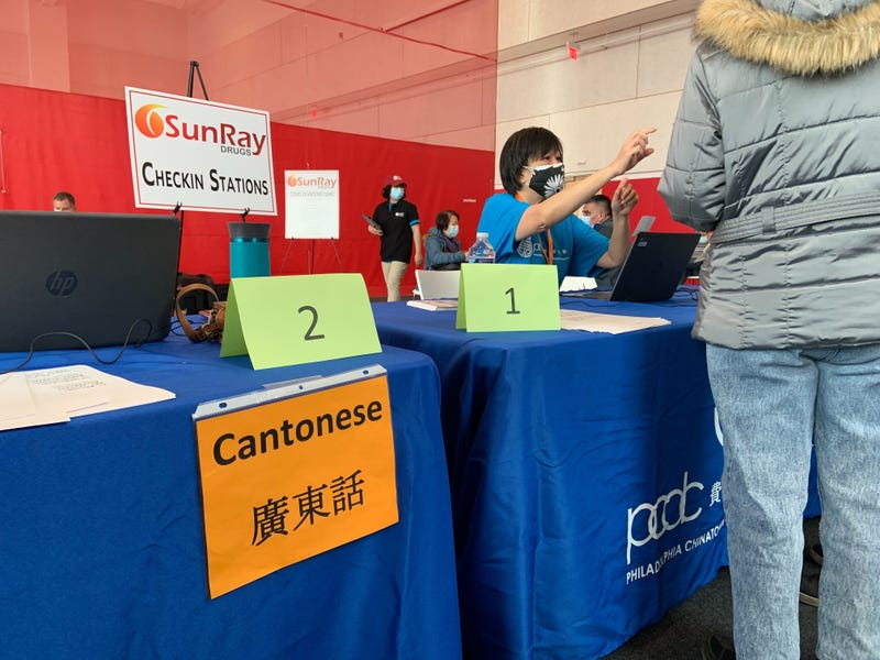Community members were able to check in with volunteers and ask questions in English, Spanish, or one of four Chinese dialects.