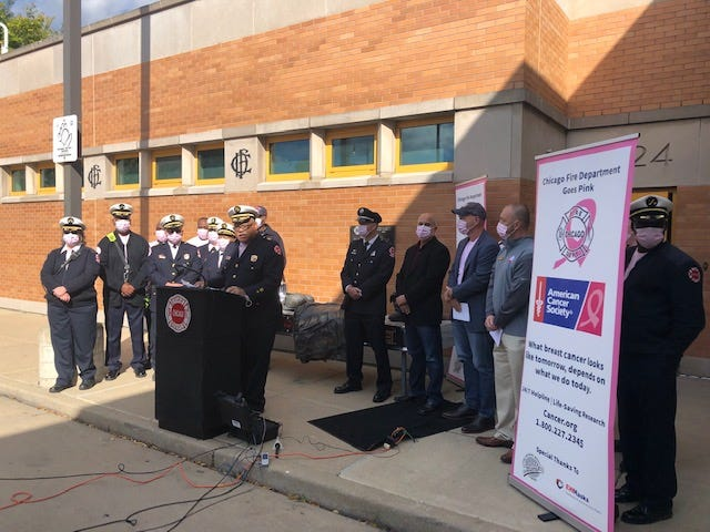 The Chicago Fire Department is observing Breast Cancer Awareness Month by outfitting firefighters and paramedics with pink shirts, masks and gloves.