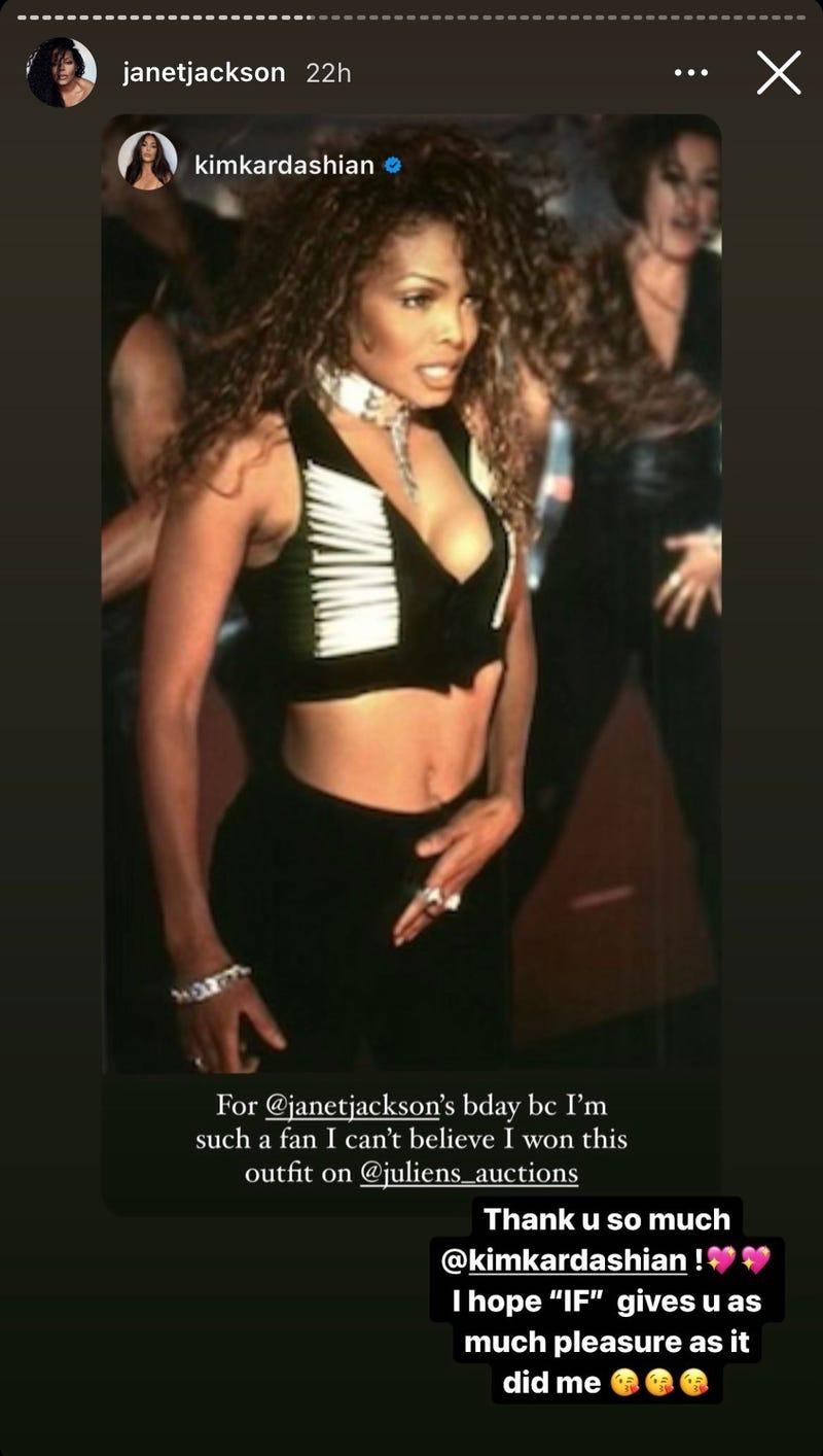 Janet Jackson IG Story reply to Kim Kardashian
