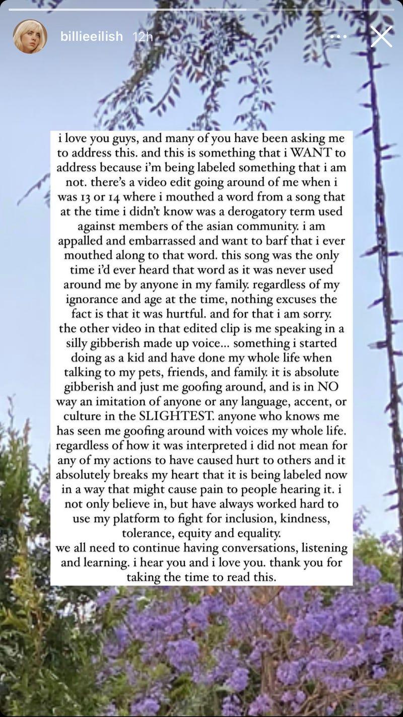 Billie Eilish IG story