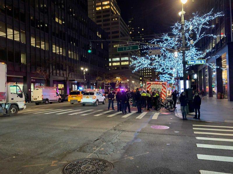 Scene of crash involving protesters on Manhattan's East Side.
