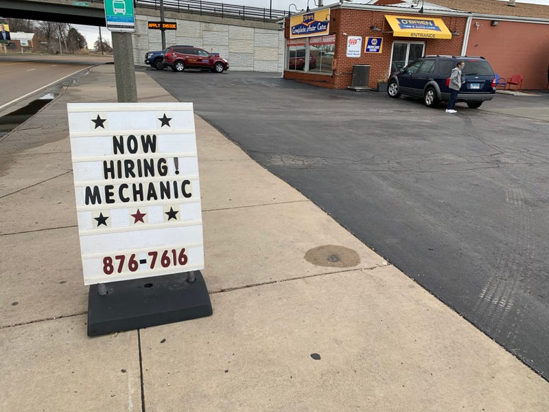 Help wanted signs out at auto repair shops