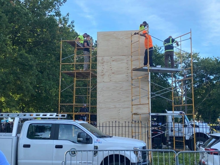 City crews covered up the Christopher Columbus statue in Marconi Plaza last summer.