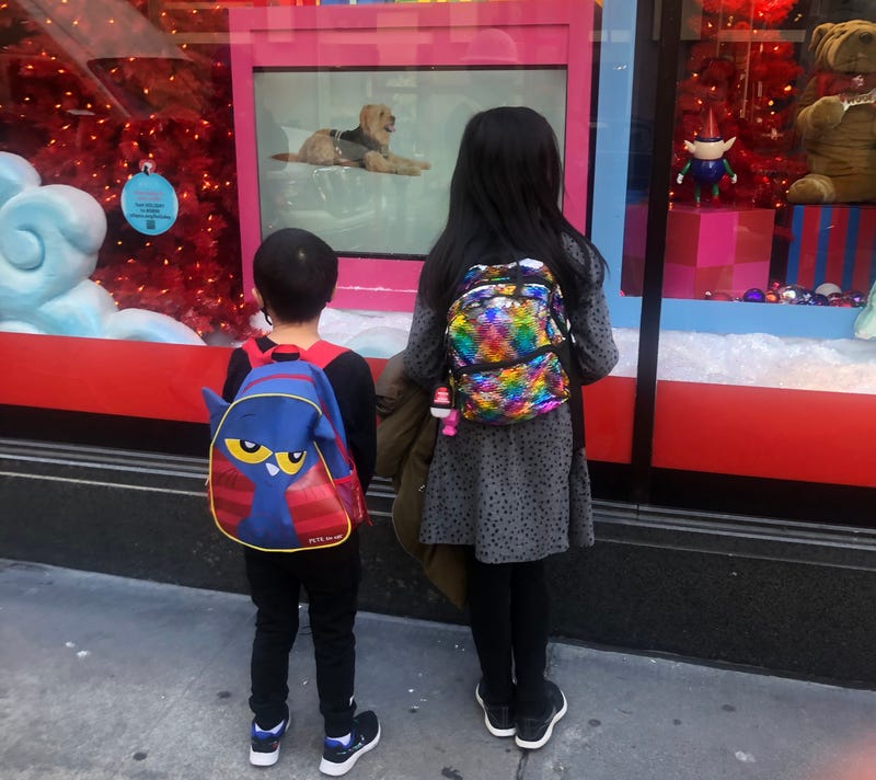 Two kids look into the now-virtual puppy window at Macy's in San Francisco's Union Square