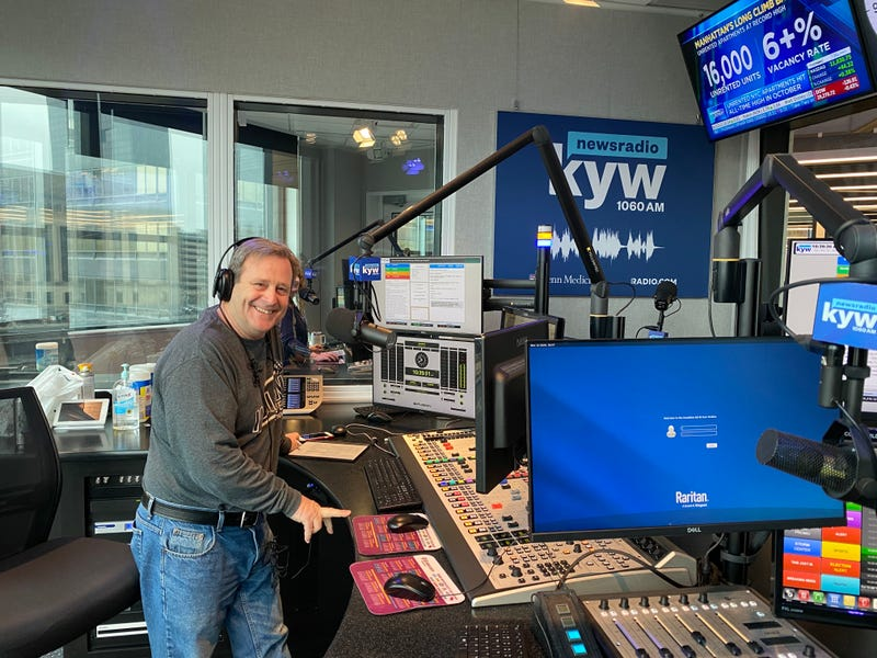 KYW Newsradio anchor Brandon Brooks in the studio on his last day before retirement.