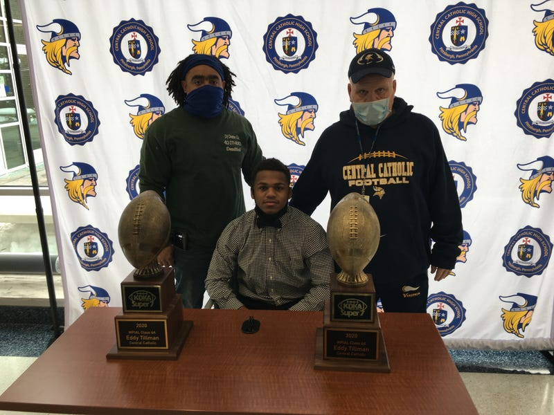 Pittsburgh Central Catholic Vikings star running back Eddy Tillman and Coach Terry Totten were presented the 6A award by KDKA Radio Sports Director Jeff Hathhorn.